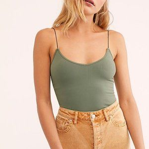 Free People Olive Green Skinny Strap Stretch Top